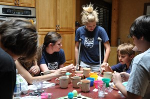 dying Easter eggs while on crutches